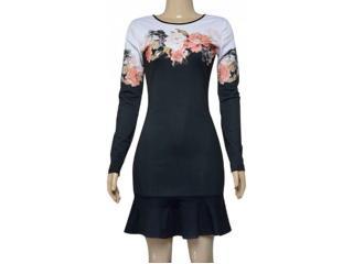 Vestido Feminino Moikana 180031 Preto Floral - Tamanho Médio