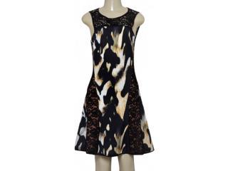 Vestido Feminino Moikana 180089 Preto/mostarda - Tamanho Médio