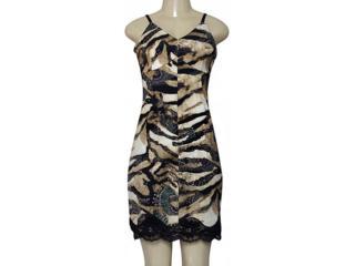 Vestido Feminino Moikana 180036 Caqui/preto - Tamanho Médio
