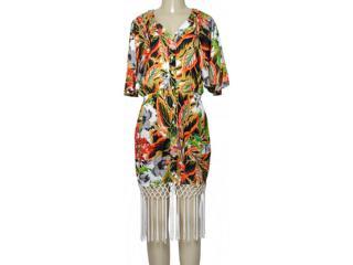 Vestido Feminino Moikana 190055 Off White Floral - Tamanho Médio