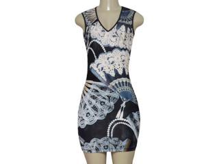 Vestido Feminino Moikana 190054 Preto Estampado - Tamanho Médio