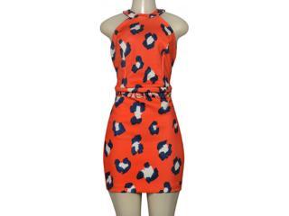 Vestido Feminino Moikana 190100 Laranja Estampado - Tamanho Médio