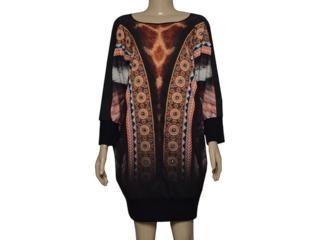 Vestido Feminino Moikana 180016 Preto Estampado - Tamanho Médio