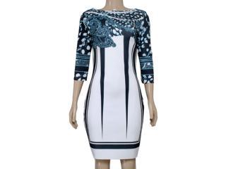Vestido Feminino Morena Rosa 103987 Estampado Off White/preto Azul - Tamanho Médio