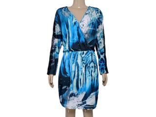 Vestido Feminino Morena Rosa 103745 Estampado Preto/azul - Tamanho Médio