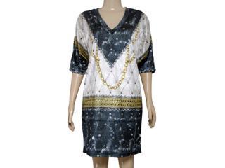 Vestido Feminino Triton 441402438 Estampado Off/preto/amarelo - Tamanho Médio