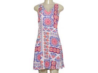Vestido Feminino Zinco 103338 Off White/laranja/roxo - Tamanho Médio