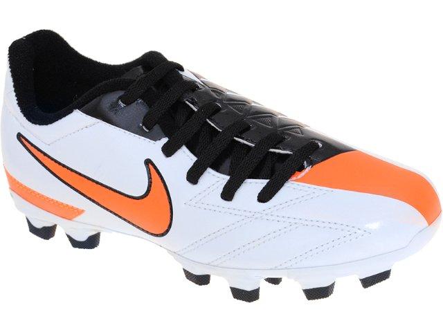 Chuteira Masc Infantil Nike jr Exacto 474134-100 Bco/pto/laranja