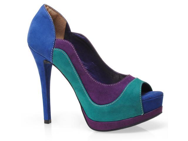 Peep Toe Feminino Via Marte 12-3101 Roxo/verd/azul