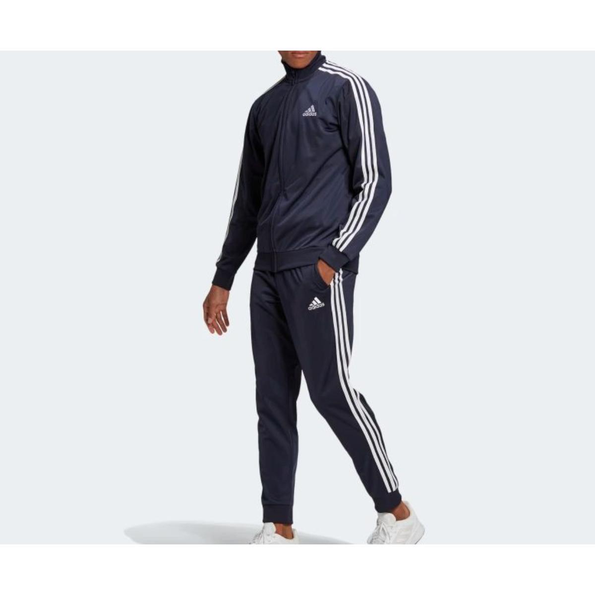 Abrigo Masculino Adidas Gk9658 Essentials 3s Marinho/branco