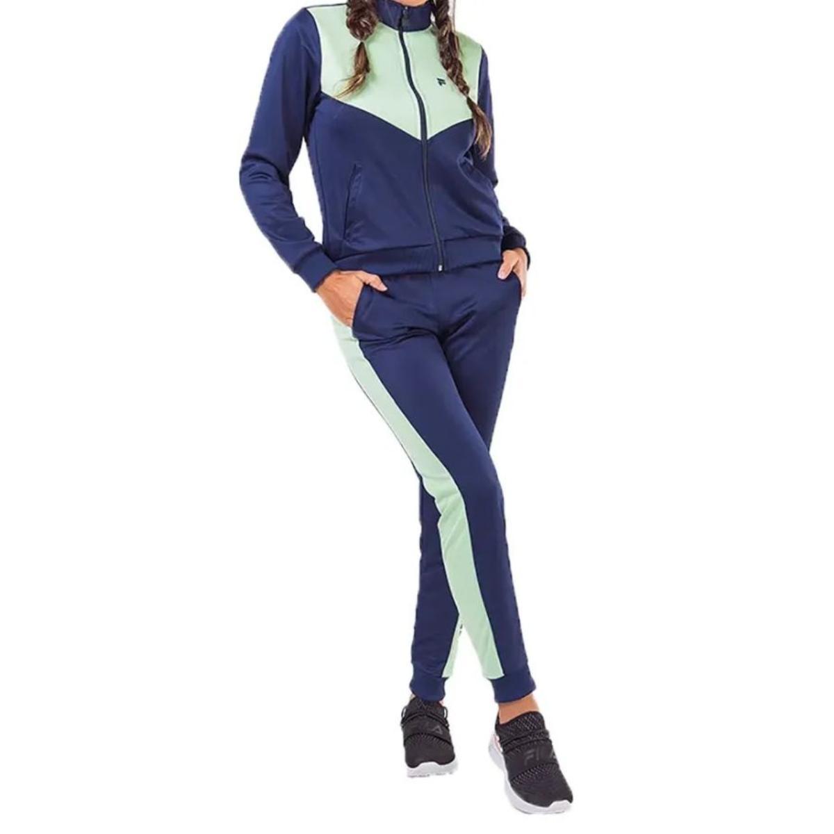 Abrigo Feminino Fila F12at500011.2393 Block Colors Marinho/verde