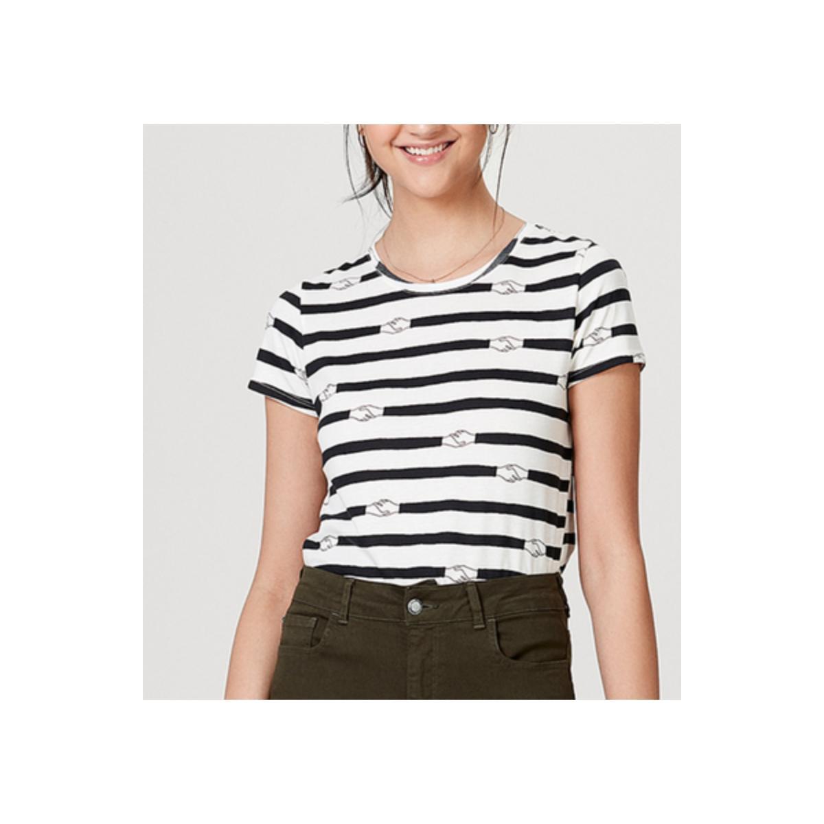 Blusa Feminina Hering 4e0v 5len Branco/preto