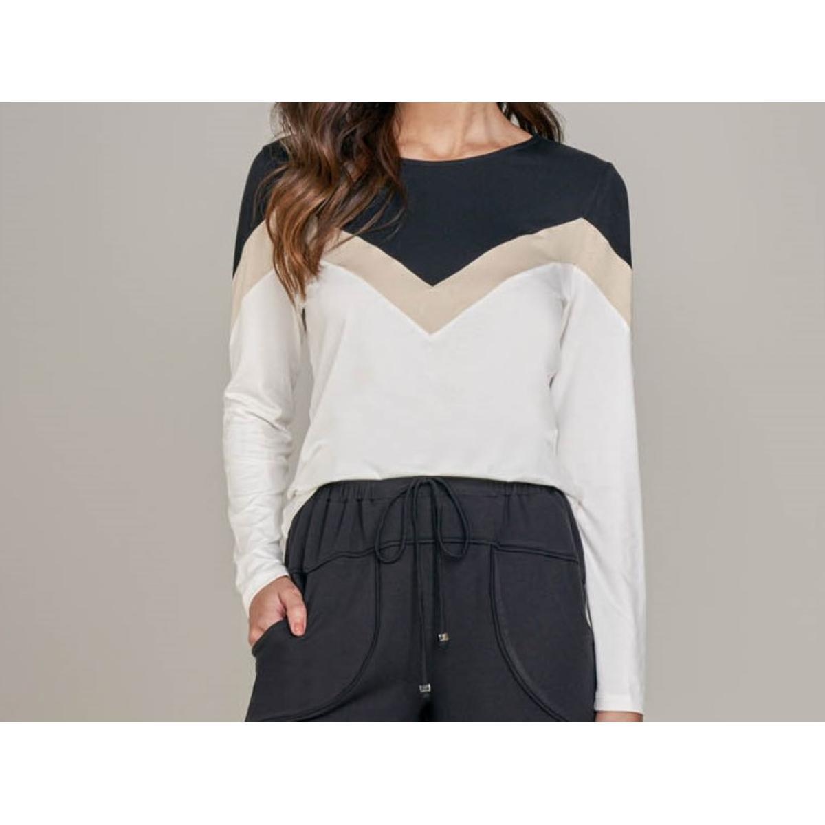 Blusa Feminina Lado Avesso L115513 Off White/bege/preto