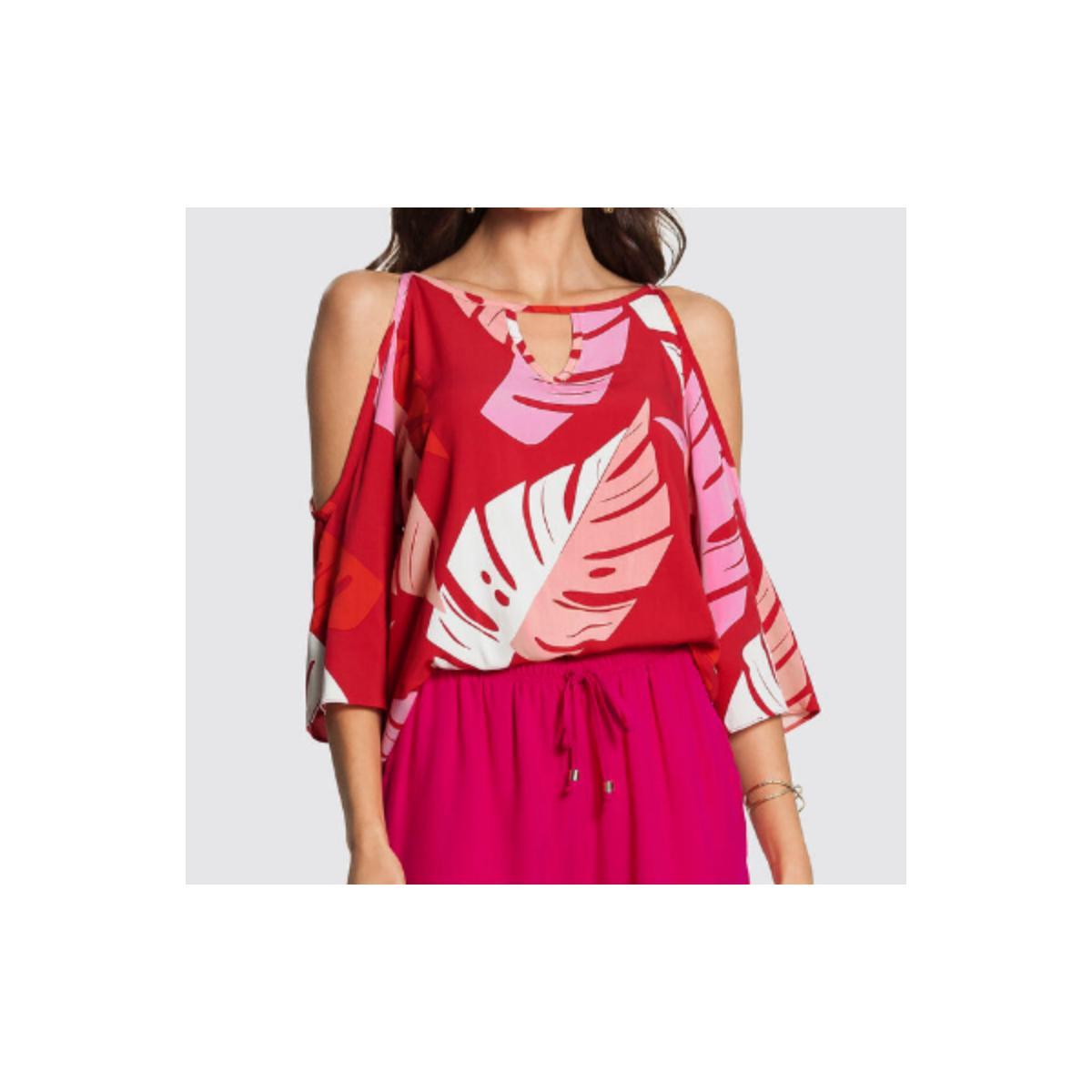 Blusa Feminina Lunender 46554 Vermelho Estampado