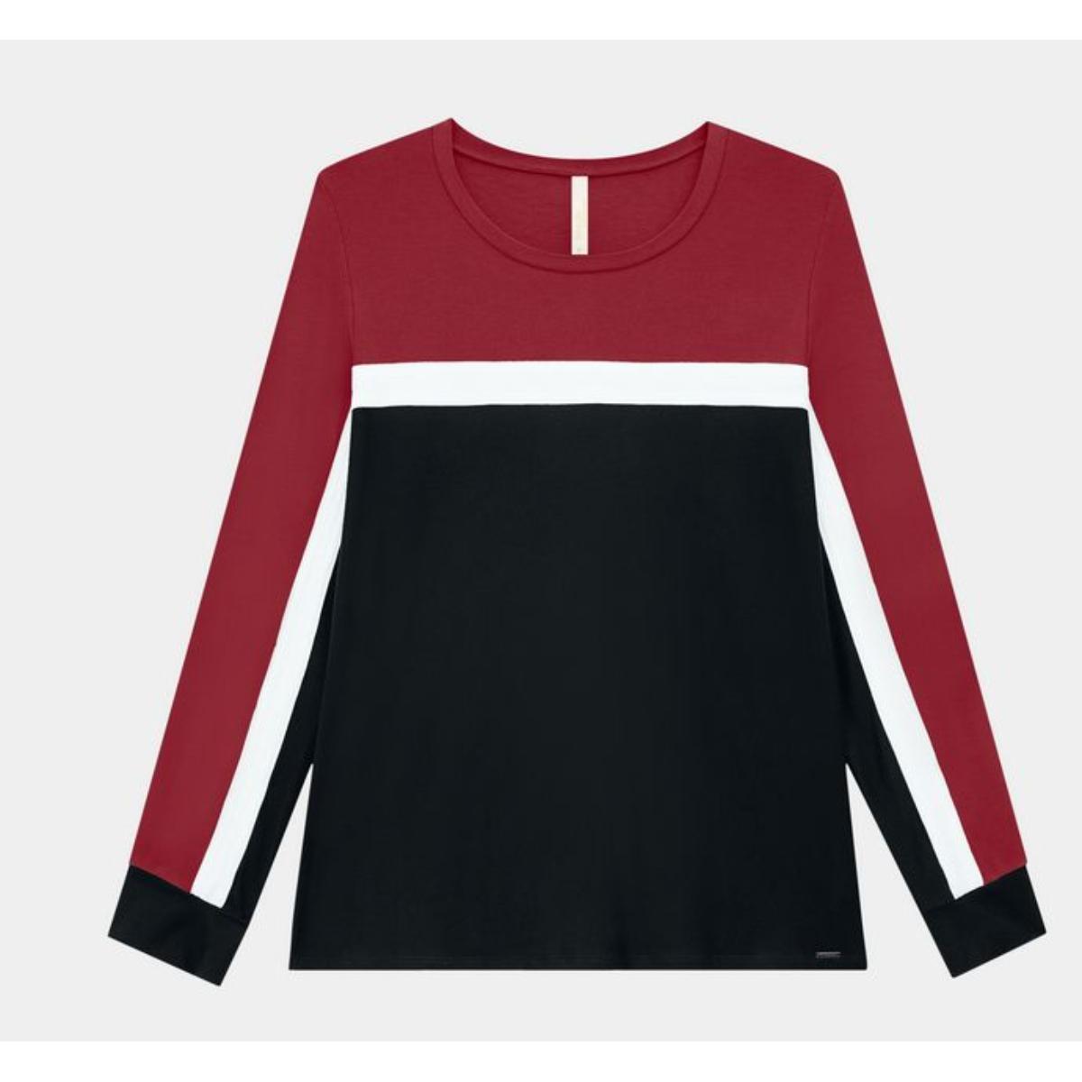 Blusa Feminina Lunender 60174 Vermelho/preto