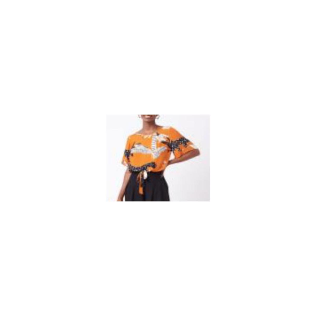 Blusa Feminina Mercatto 2837118 008 Laranja Estampado