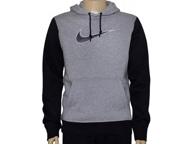 Blusão Masculino Nike 727755-063 Club Fleece Swoosh  Cinza/preto