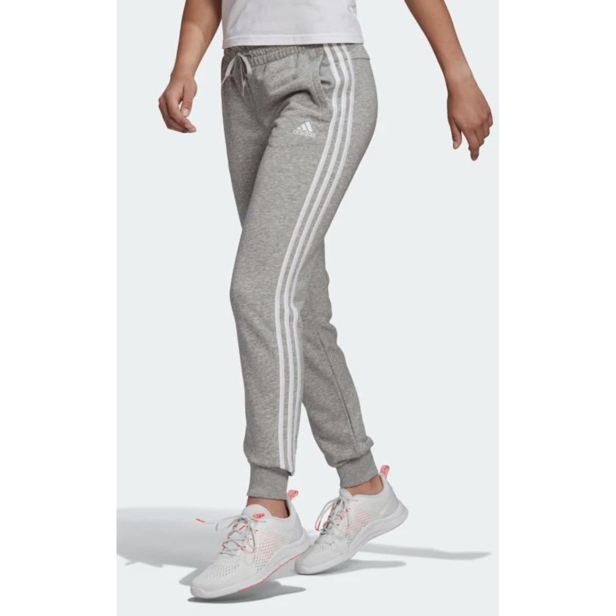 Calça Feminina Adidas Gm8735 Essentials Slim 3 Listras Cinza