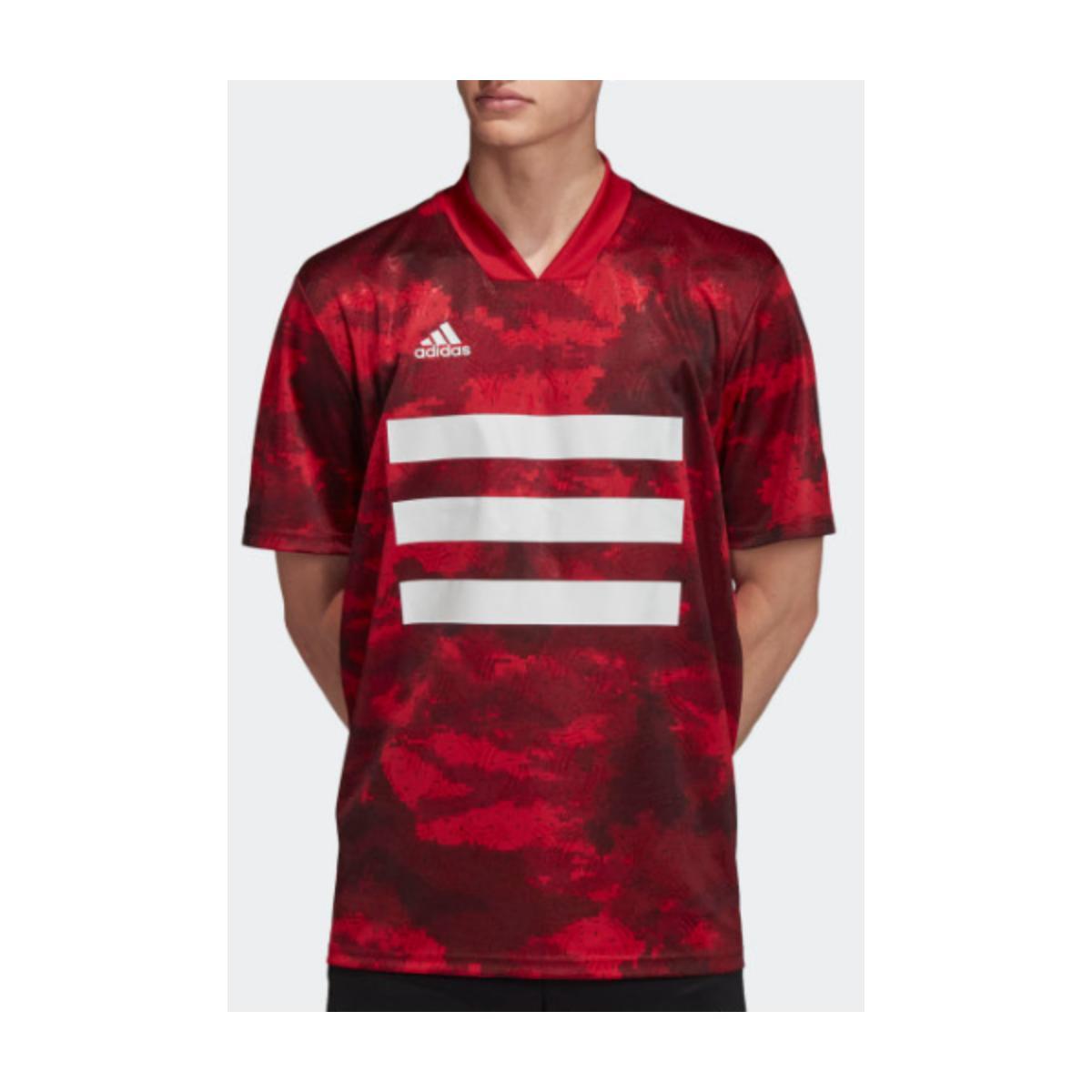 Camisa Masculina Adidas Dz9537 Tan Aop Jsy Vermelho