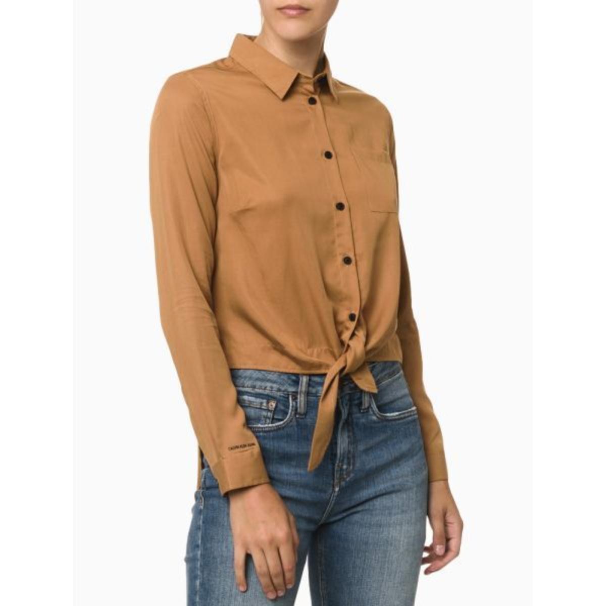 Camisa Feminina Calvin Klein Cf1of03cl910 Caqui Médio