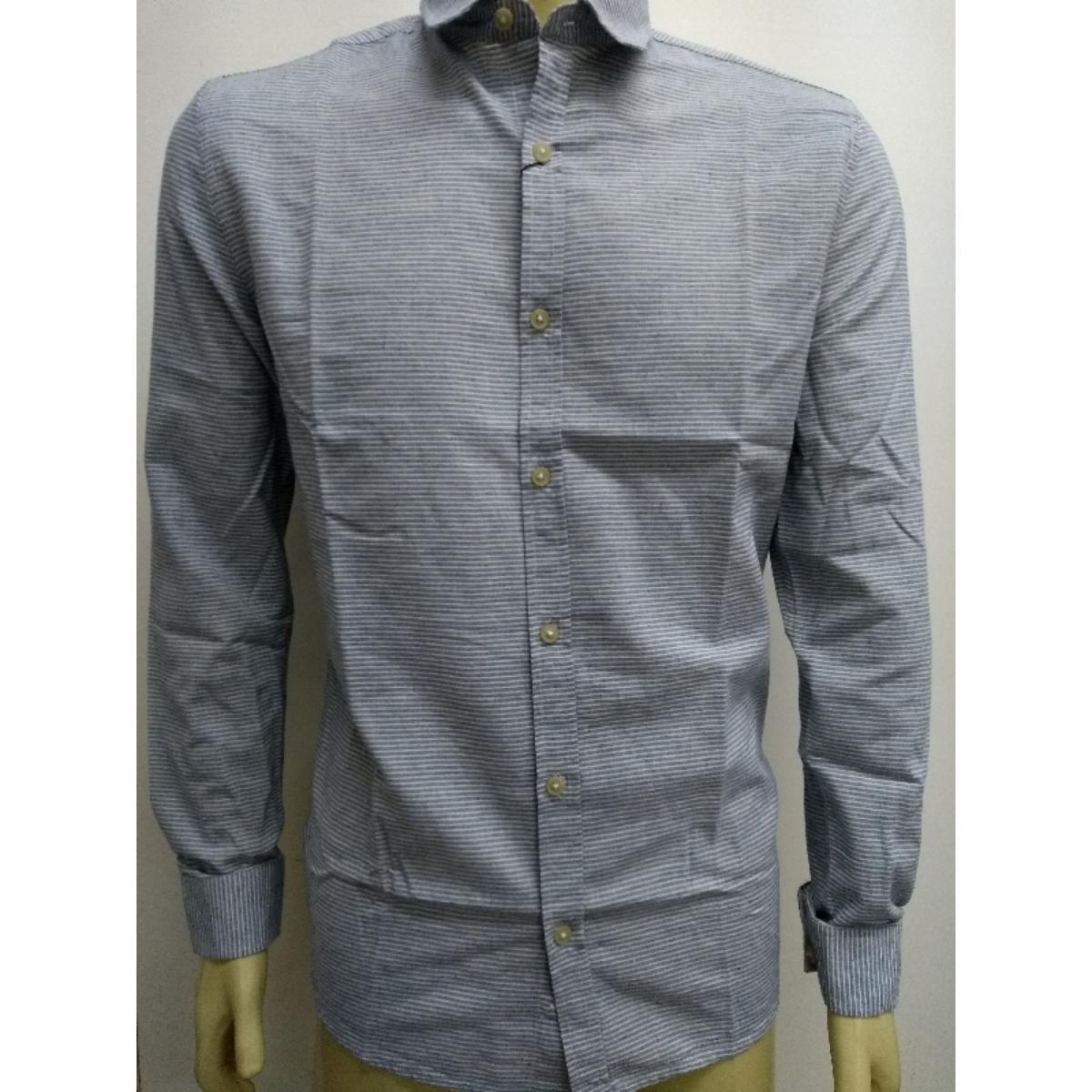 Camisa Masculina Calvin Klein Cm0oc03cl799 Off White/azul