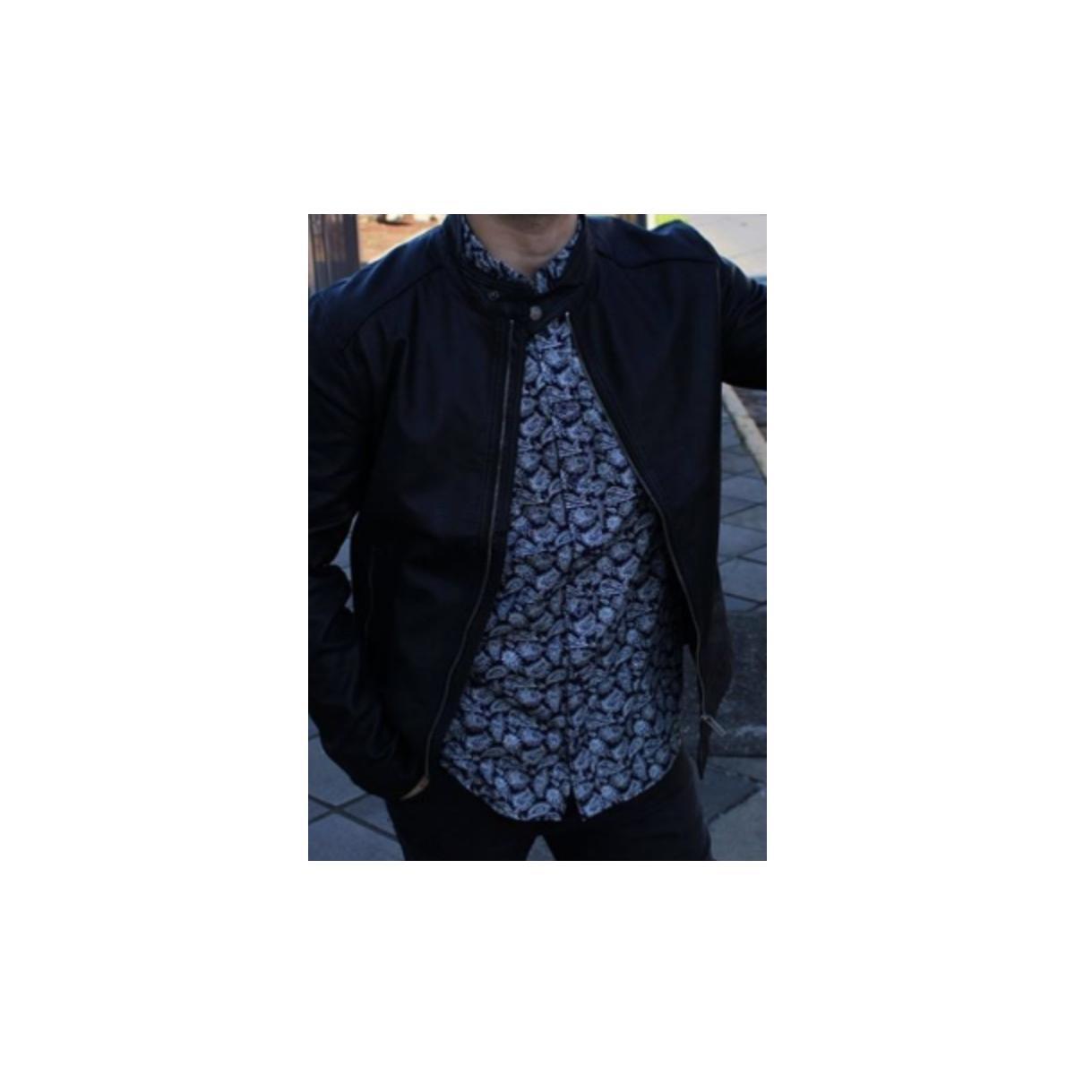 Camisa Masculina Cavalera Clothing 02.01.1577 Marinho Estampado
