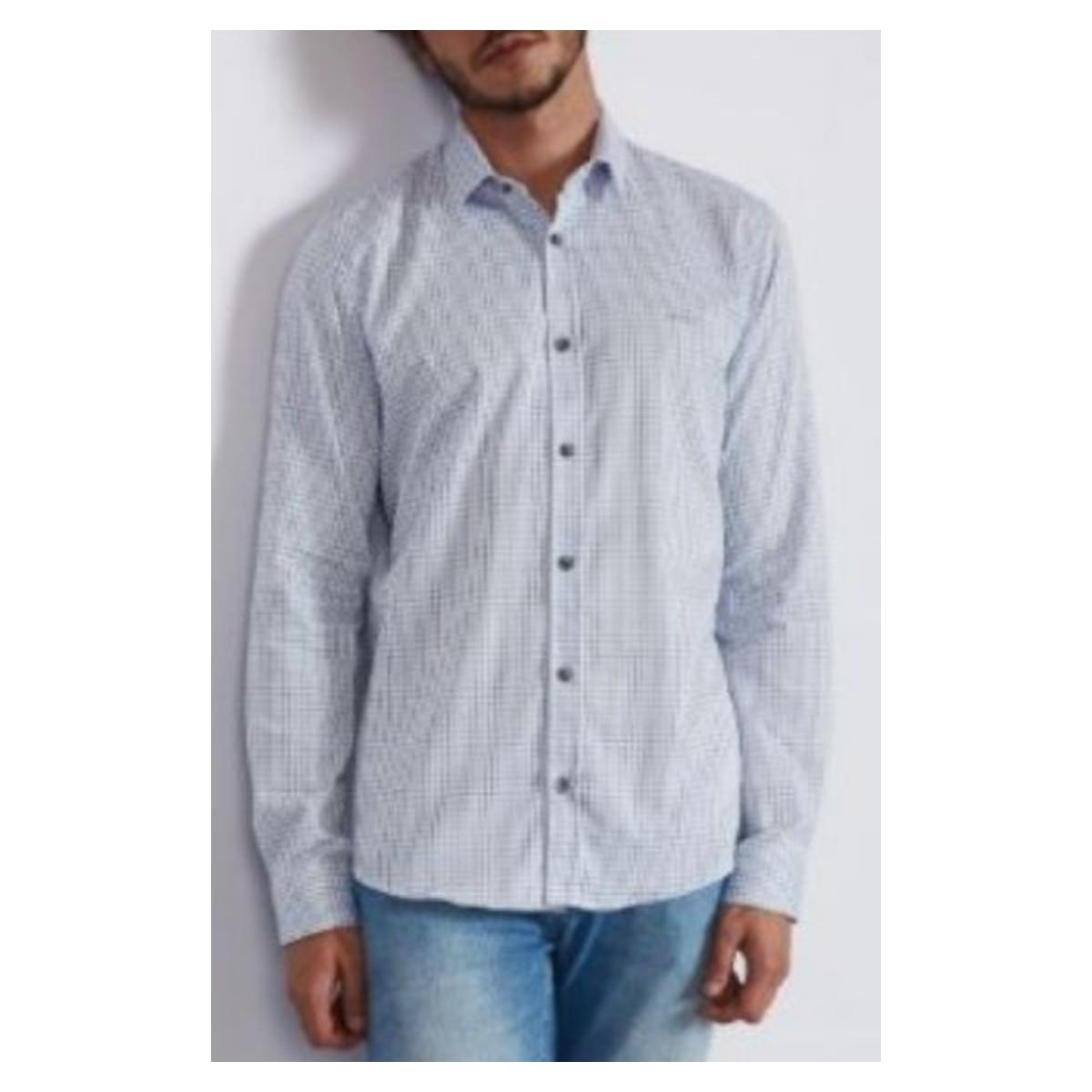 Camisa Masculina Colcci 310103793 Vc74 Xadrez Azul