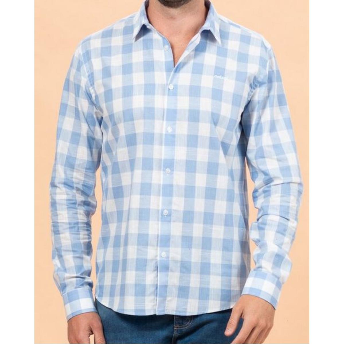 Camisa Masculina Colcci 310103711 Vc129 Azul Estampado