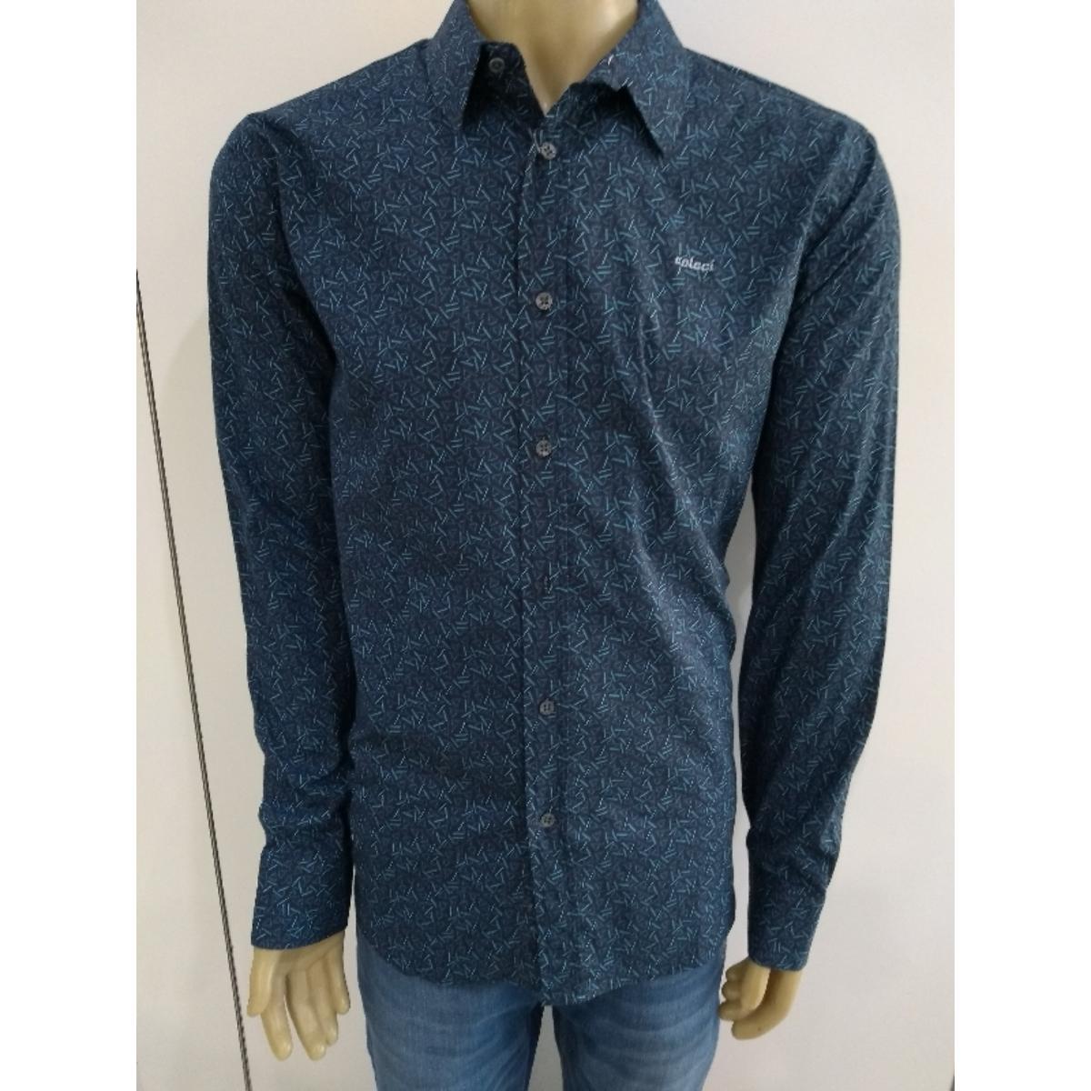 Camisa Masculina Colcci 310103500 Vc38 Preto/azul