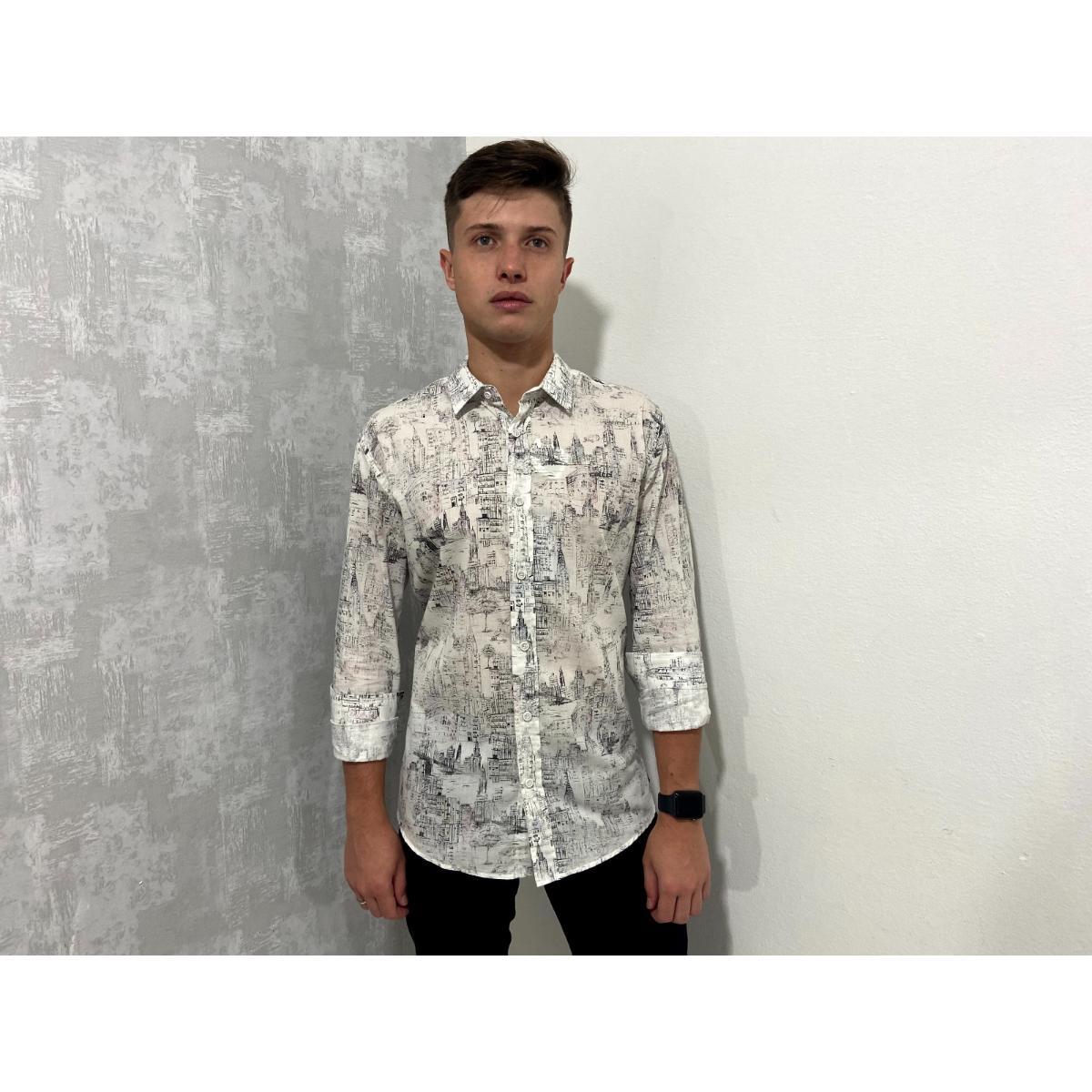Camisa Masculina Colcci   310103498 Vc41 Off White/preto