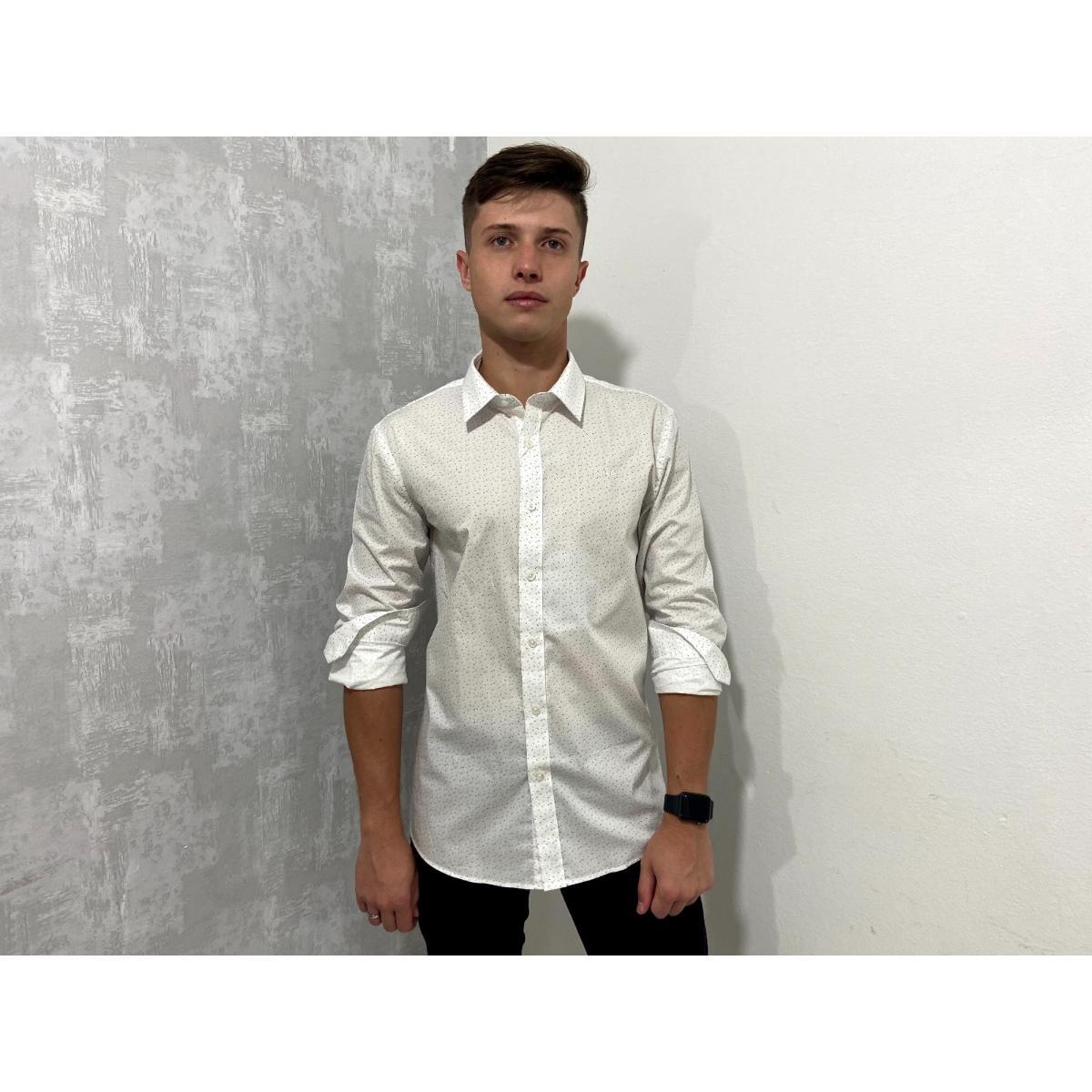 Camisa Masculina Colcci 310103662  Vc65 Branco/azul