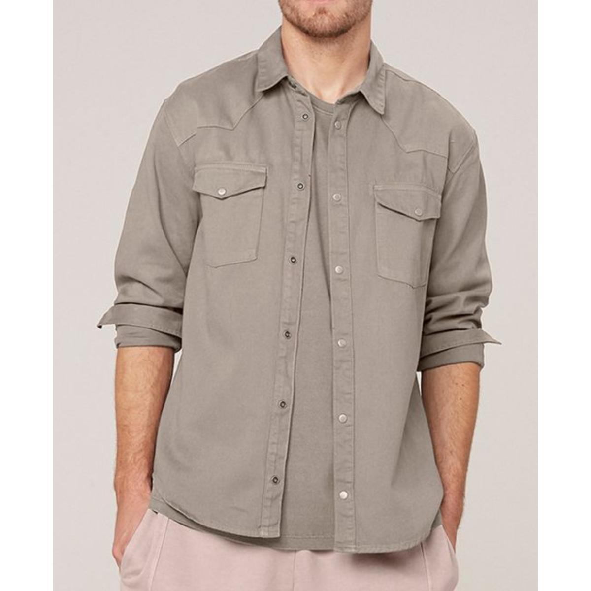Camisa Masculina Dzarm Zil4 1asn Bege