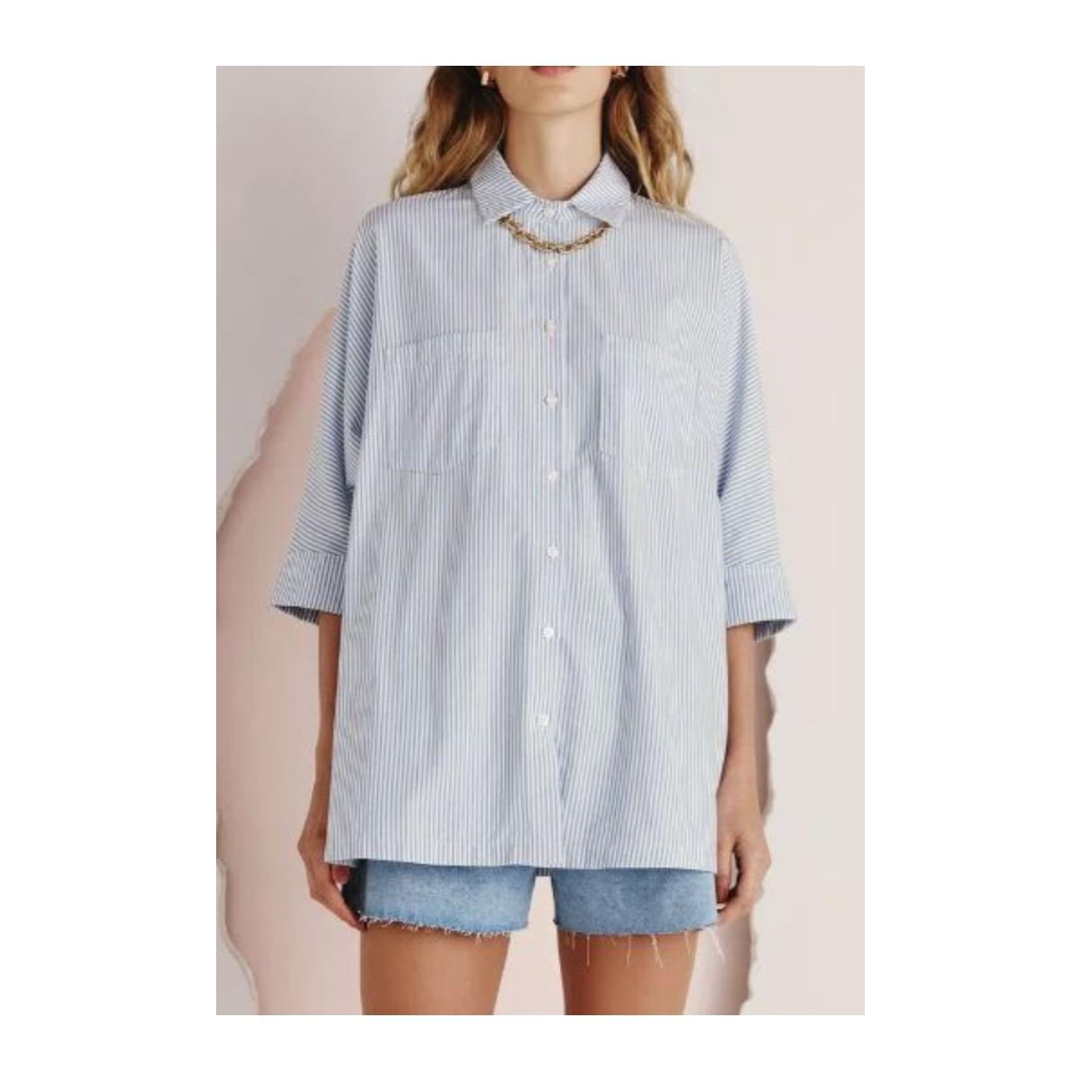 Camisa Feminina Dzarm Zinf 1cen Azul/branco