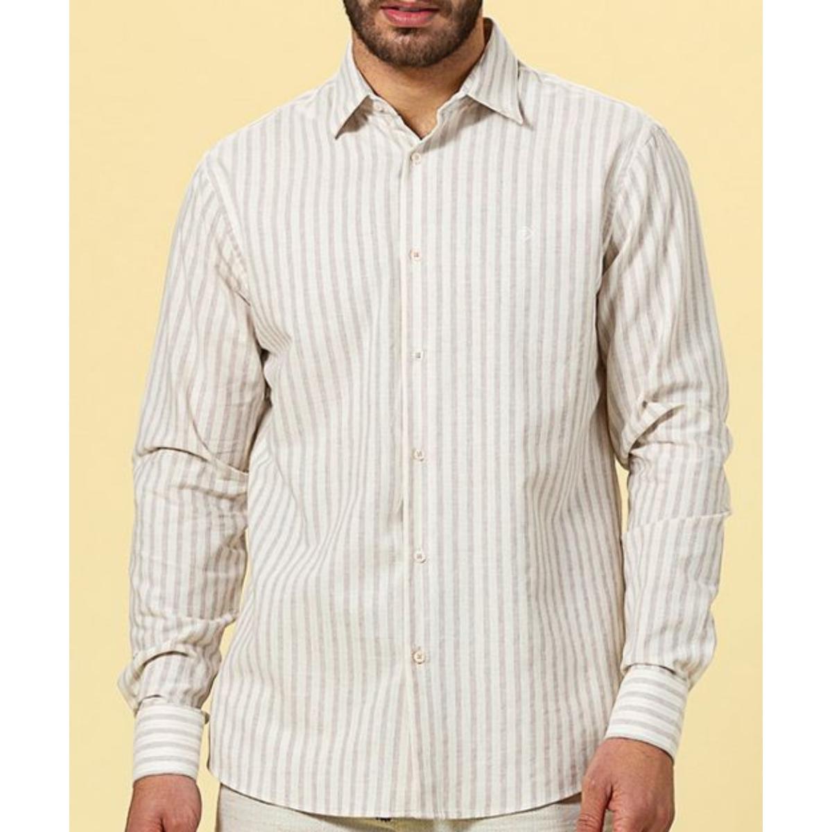 Camisa Masculina Forum 314603043 Vf369 Bege Listrado