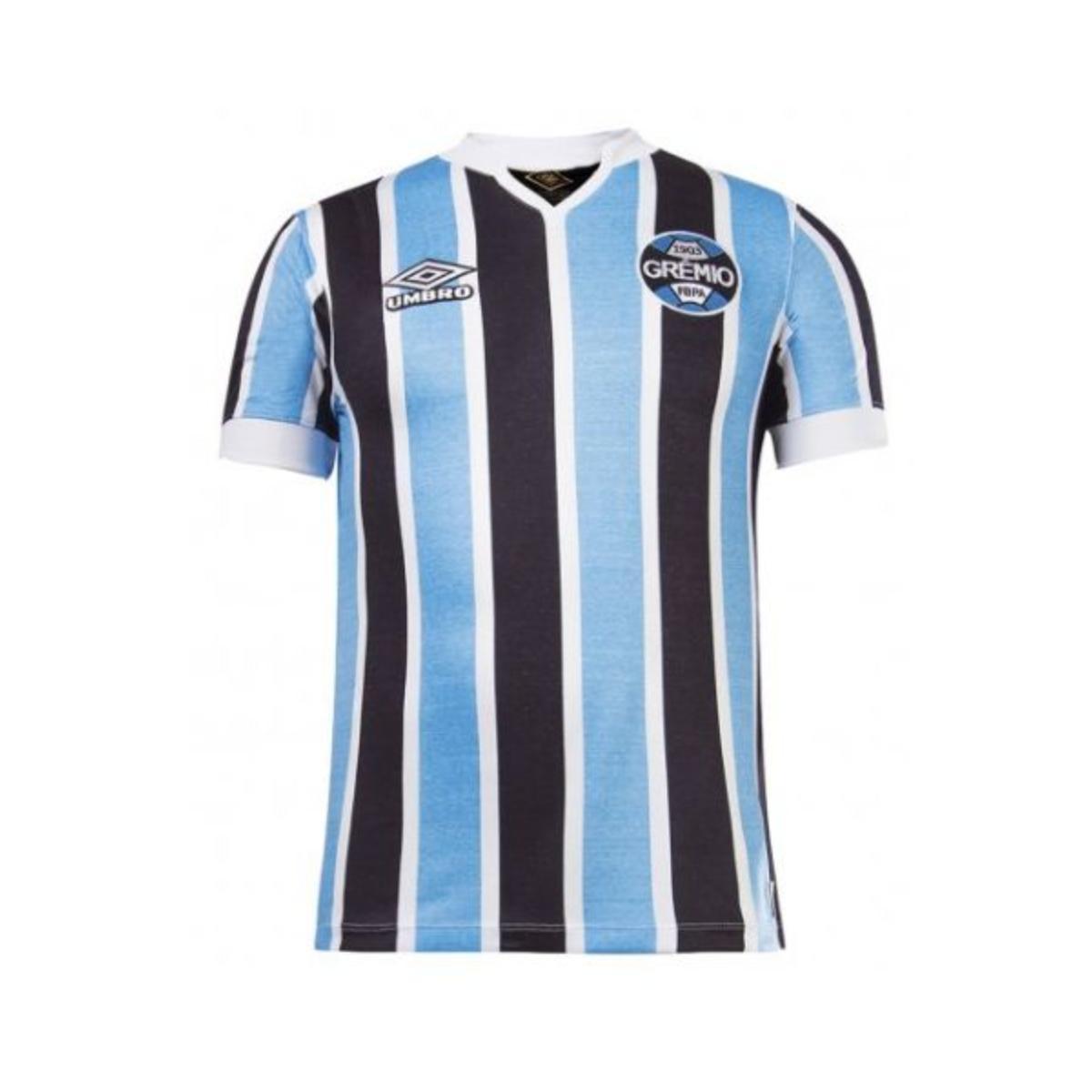 Camisa Masculina Grêmio U31g514219.312 Of.1  Retrô 1981 Azul/preto/branco
