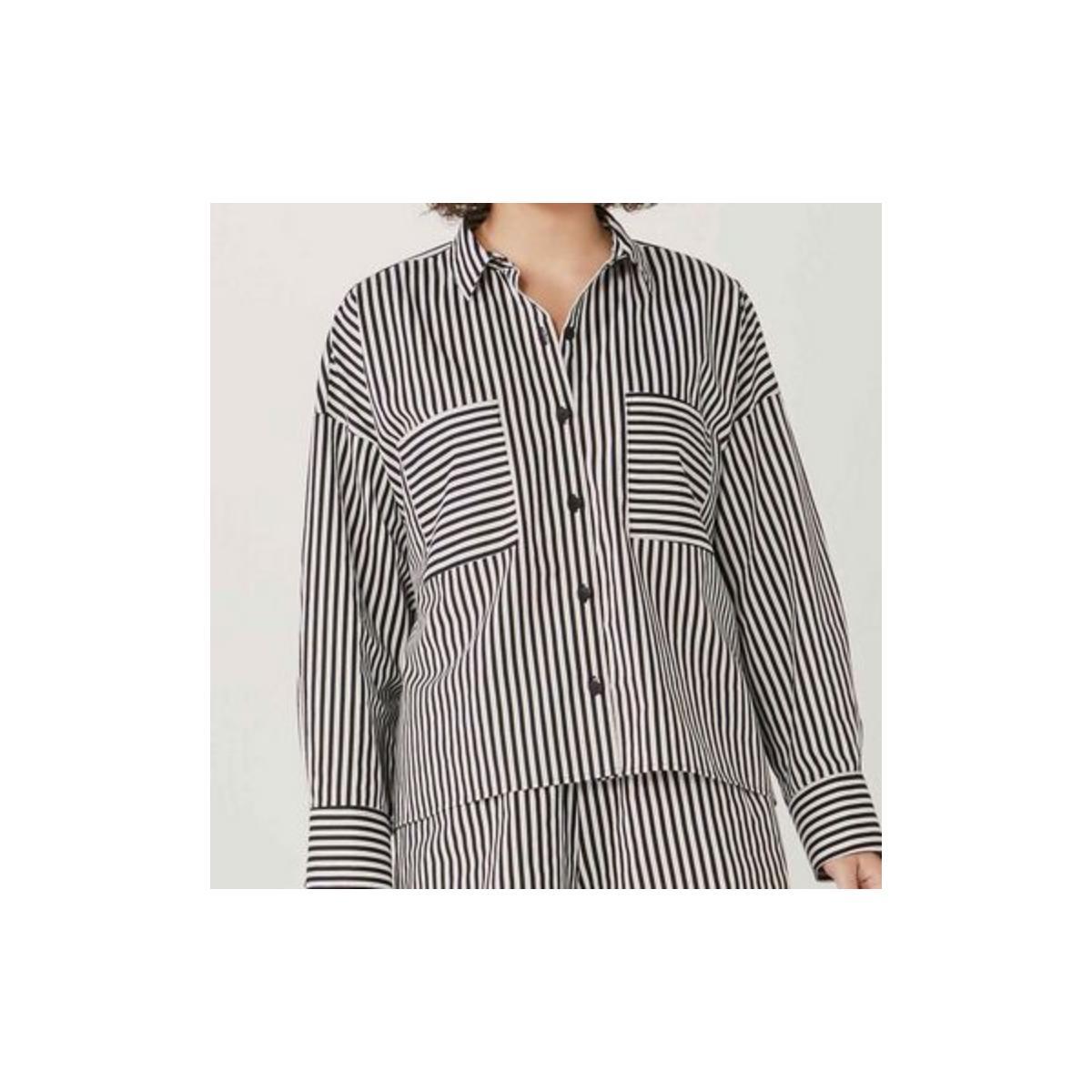 Camisa Feminina Hering Hf1e 1aen Preto/branco