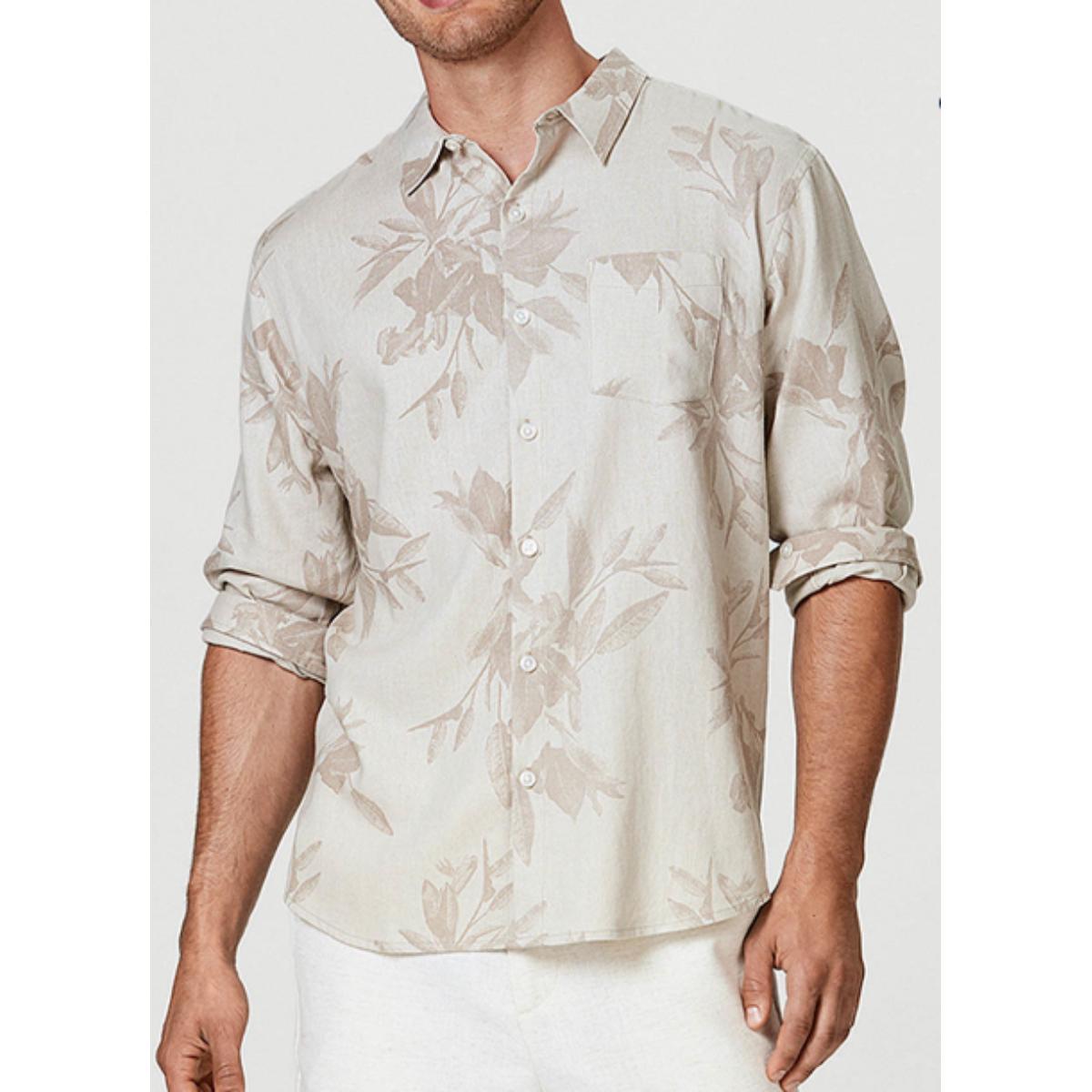 Camisa Masculina Hering Ktz4 1fsi Bege Estampado