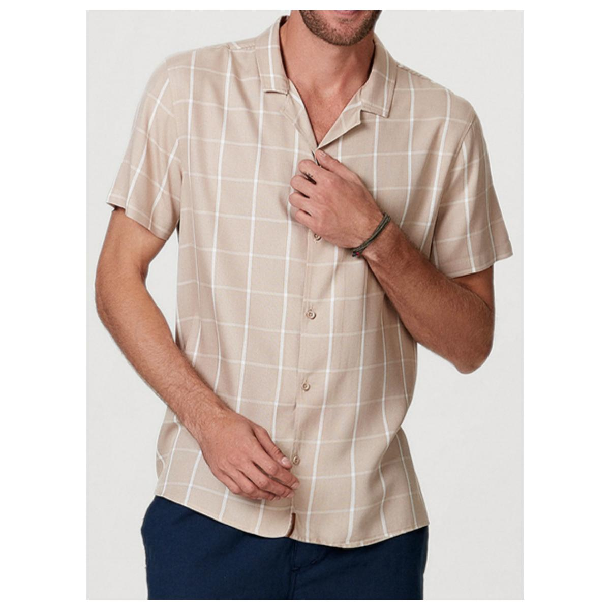 Camisa Masculina Hering H2je 1aen Bege Escuro
