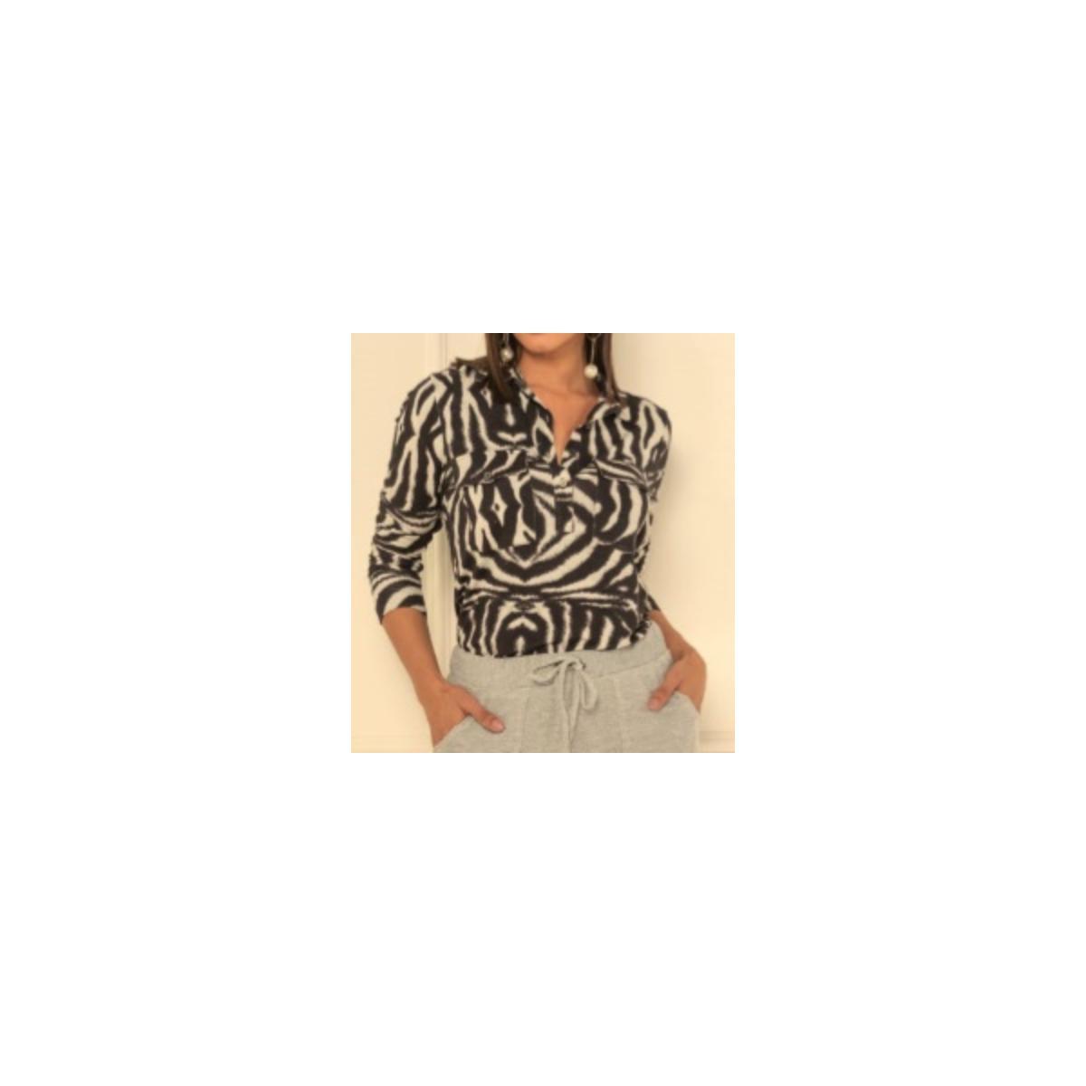 Camisa Feminina Kacolako 34413k Preto/cinza
