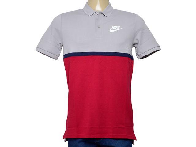 Camisa Masculina Nike 886507-027 Nsw Polo Matchup pq Cinza/marinho/vermelho