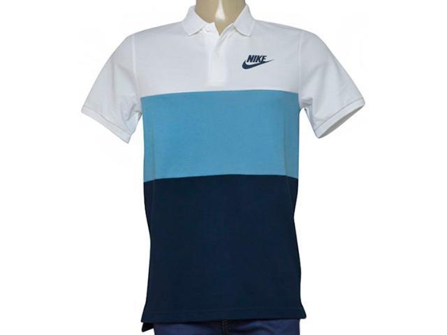 Camisa Masculina Nike 847646-103 Nsw Polo pq Matchup  Branco/azul/marinho