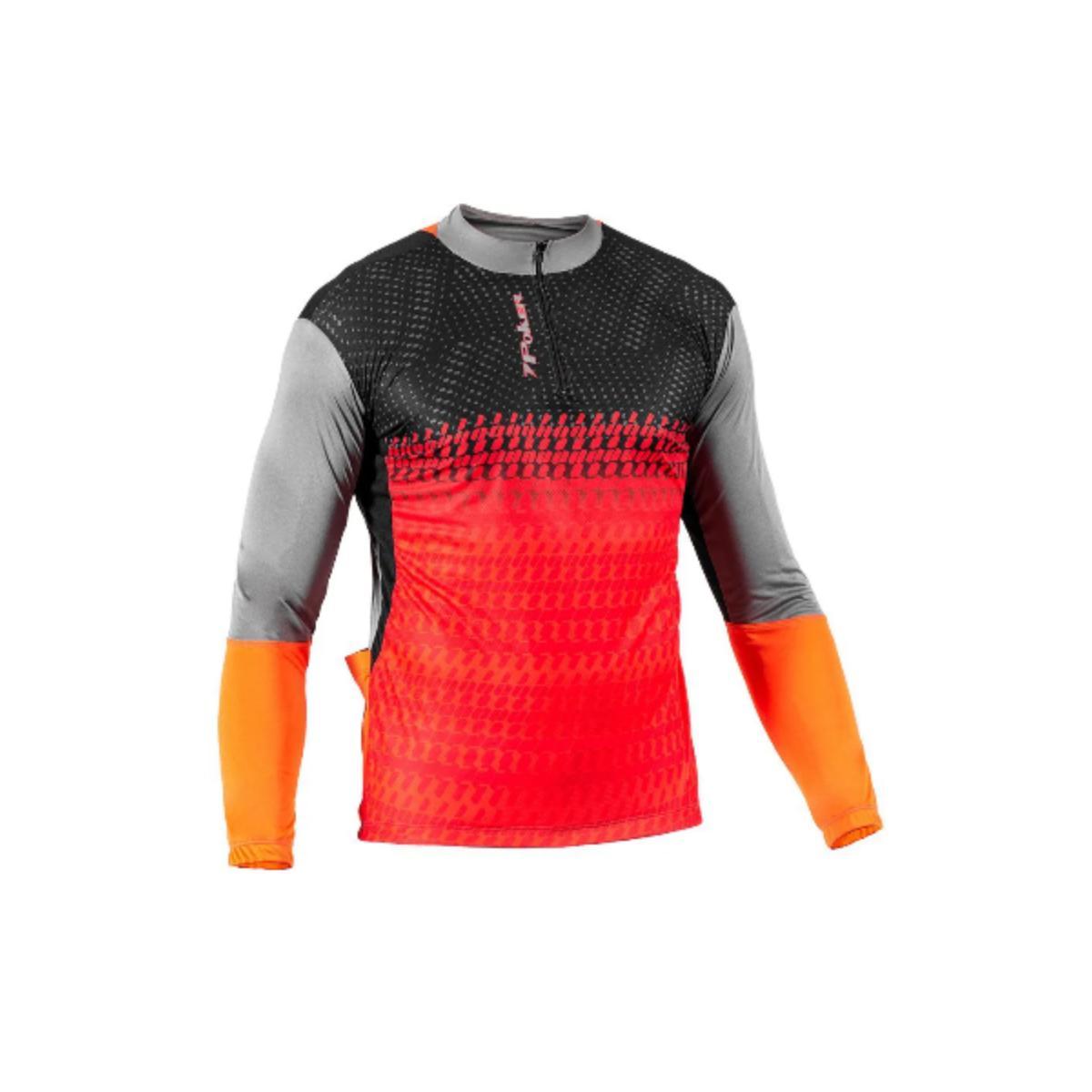 Camisa Masculina Poker 04088 Freeride ii C/ziper Preto/laranja