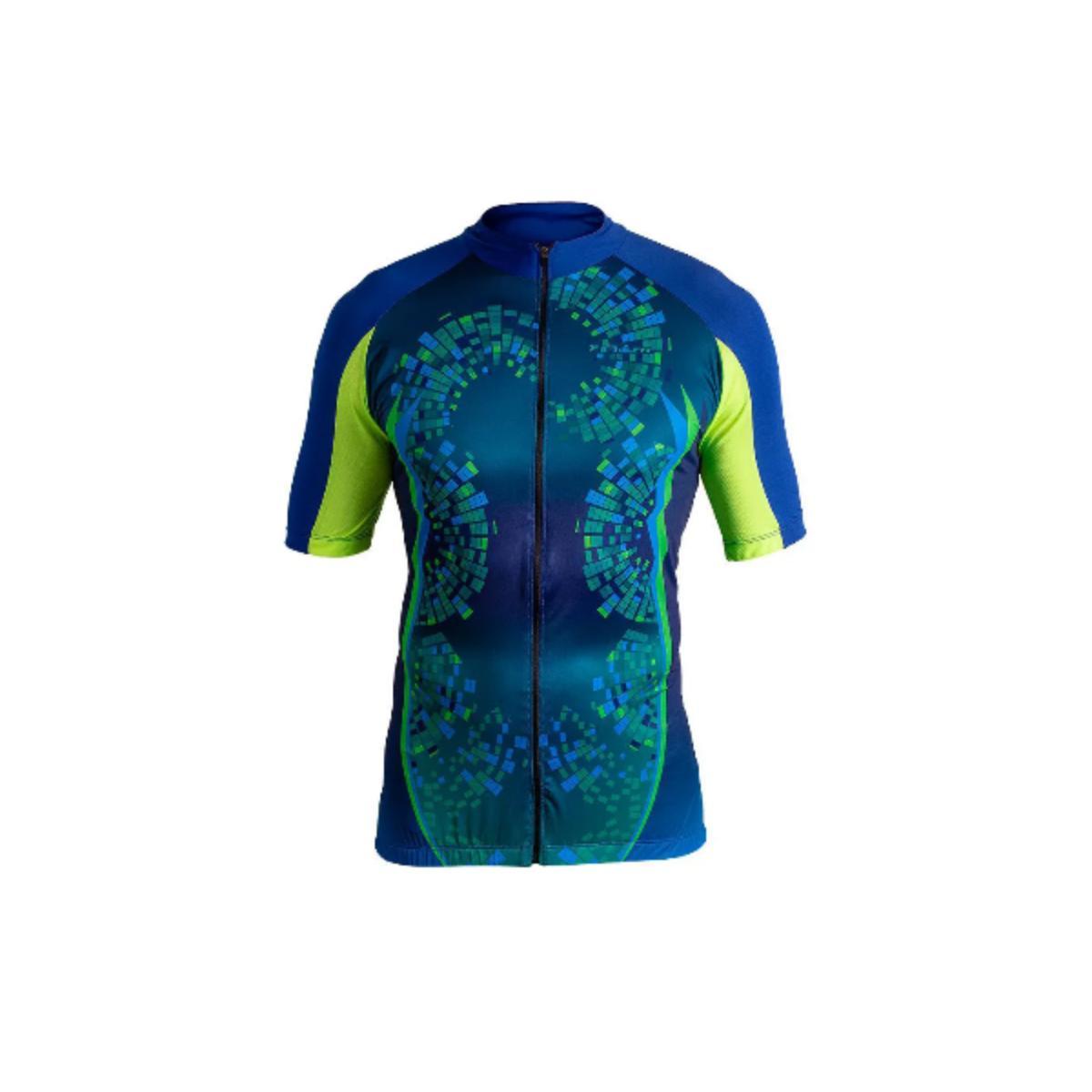Camisa Masculina Poker 04095 Brigth C/ziper Azul/verde