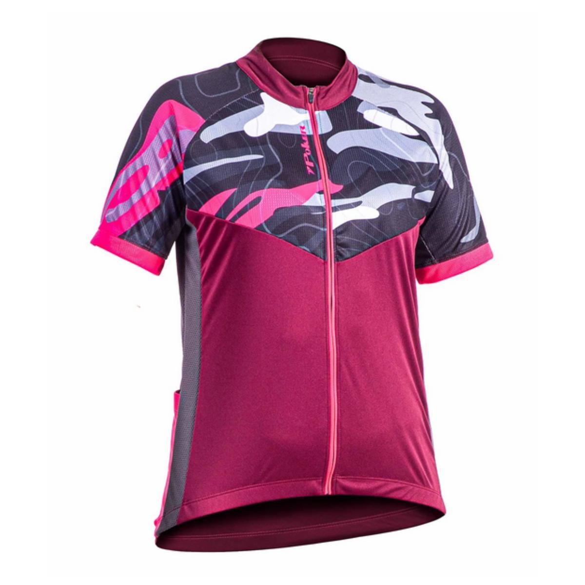 Camisa Feminina Poker 04186 Vinho/chumbo/rosa