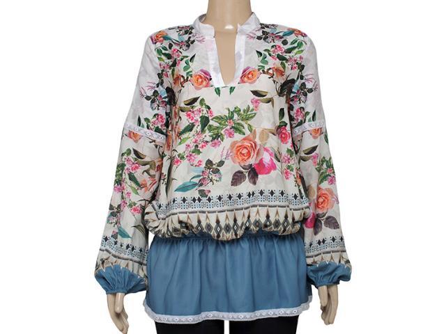 Camisa Feminina Triton 301400634 Off White/floral