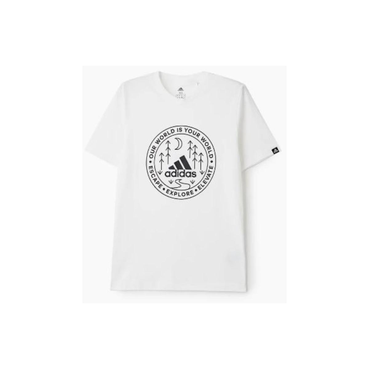 Camiseta Masculina Adidas Gl2690 Grafica Explorer Branco