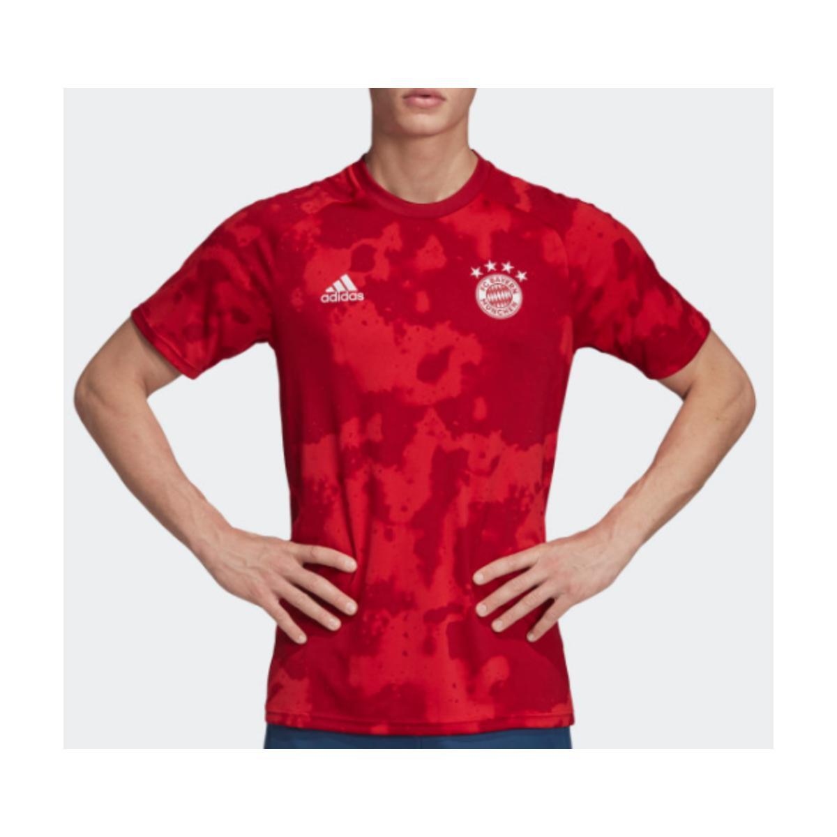 Camiseta Masculina Adidas Dx9676 Pre Jogo Bayern i Vermelho