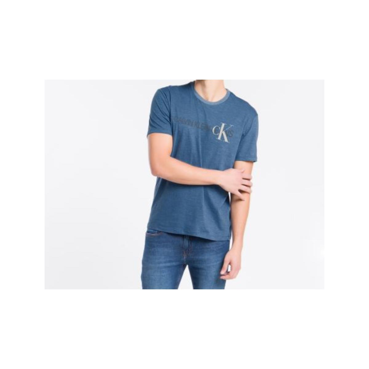 Camiseta Masculina Calvin Klein Cm1oc01i4013 Azul Médio