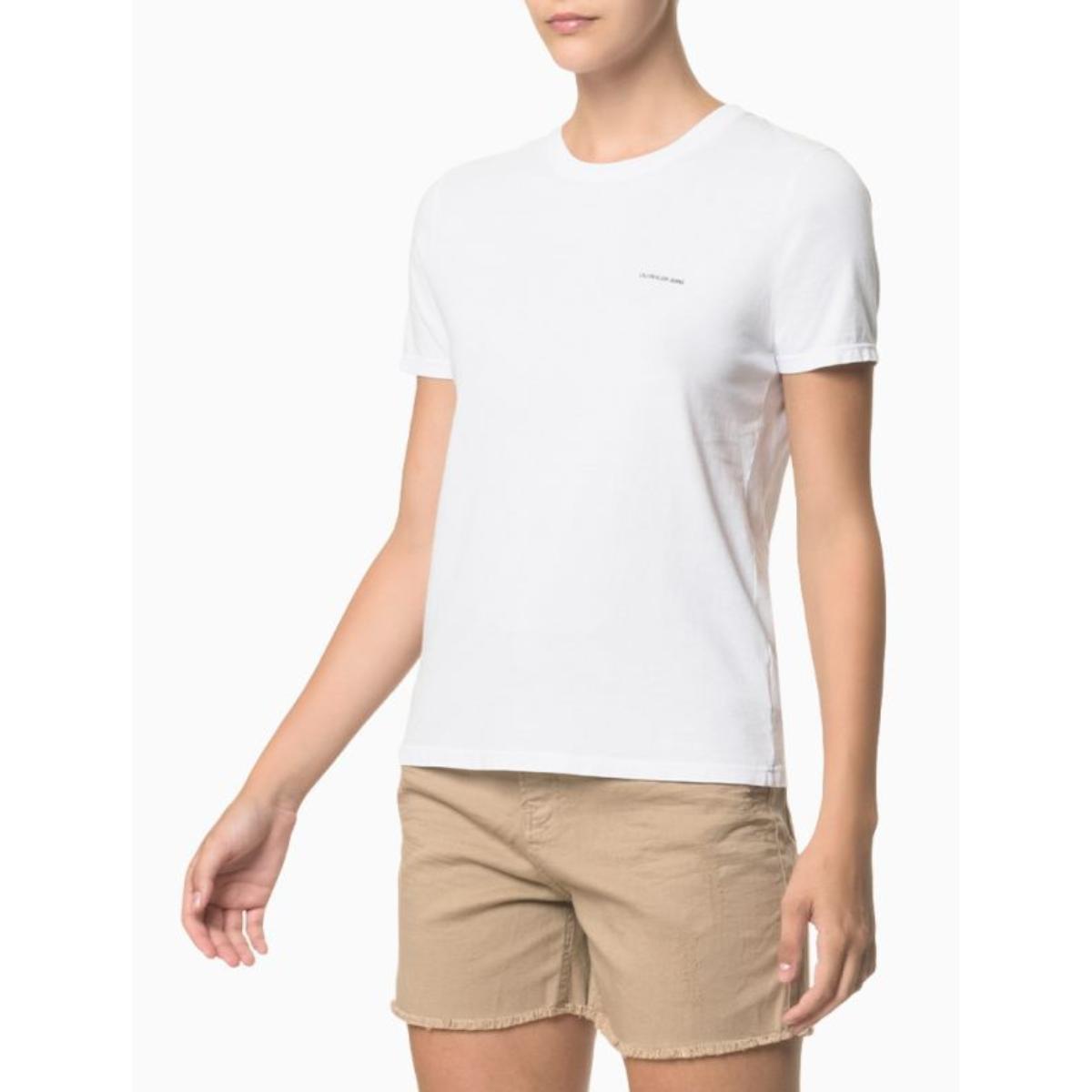 Camiseta Feminina Calvin Klein Ckjf100 Branco
