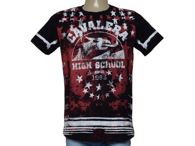 Camiseta Masculina Cavalera Clothing 01.01.9917 Preto/vermelho